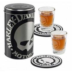 Набор H-D Skull 2 стакана + 2 подставки